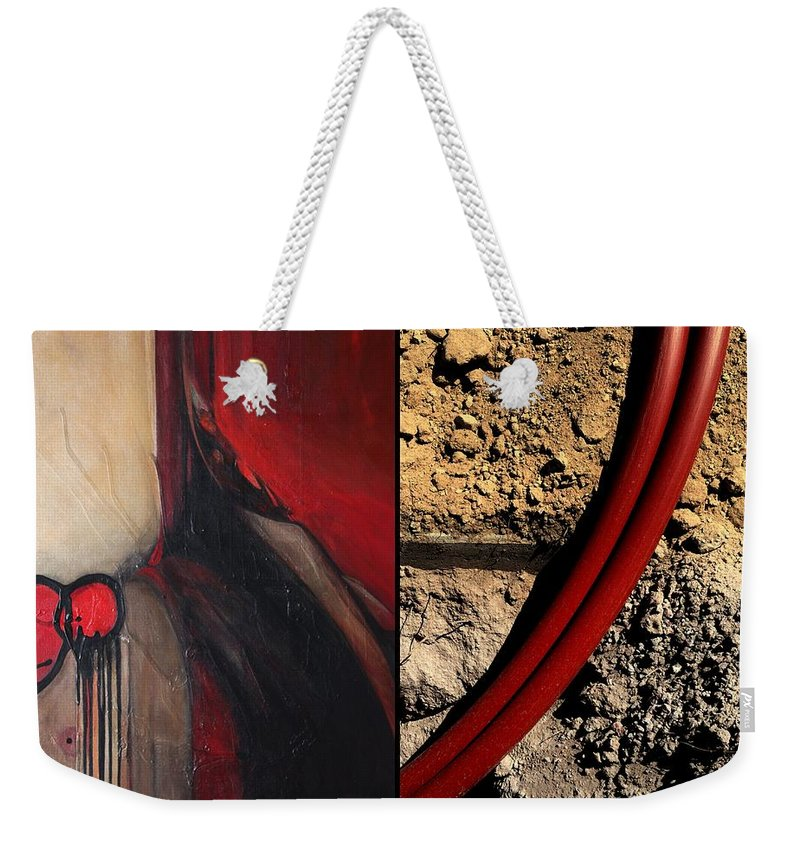 Diptych Weekender Tote Bag featuring the painting p HOTography 87 by Marlene Burns