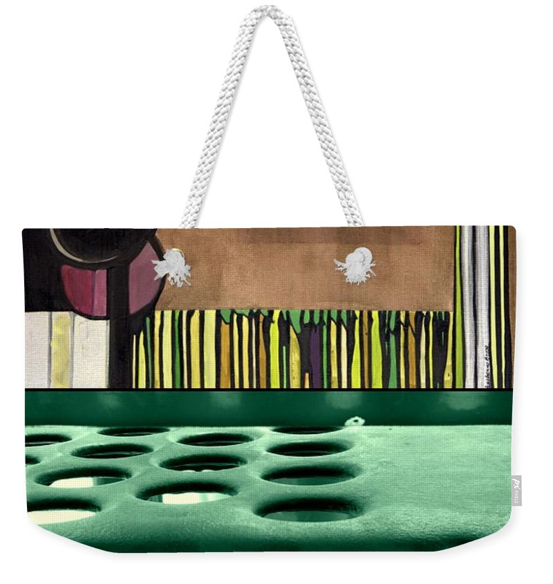 Diptych Weekender Tote Bag featuring the painting p HOTography 90 by Marlene Burns