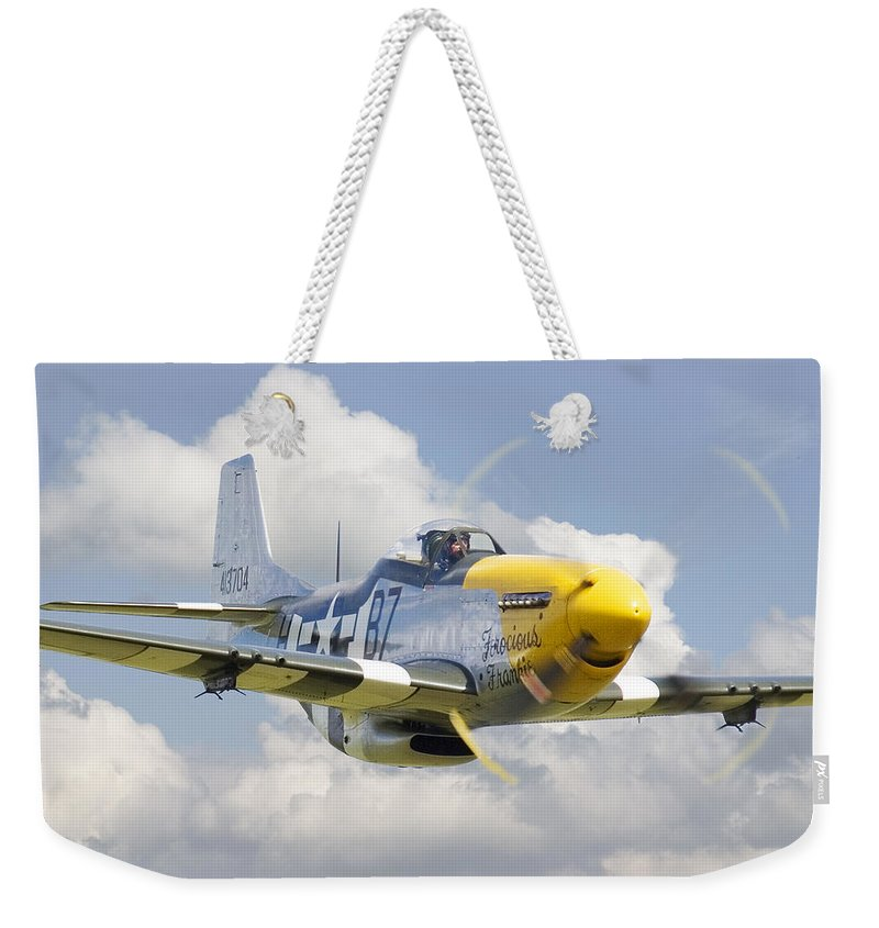Aircraft Weekender Tote Bag featuring the digital art P51 Ferocious Frankie by Pat Speirs