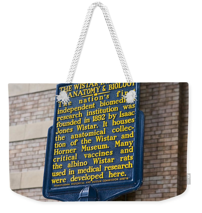 Wistar Institute Weekender Tote Bag featuring the photograph Pa-129 The Wistar Institute Of Anatomy And Biology by Jason O Watson