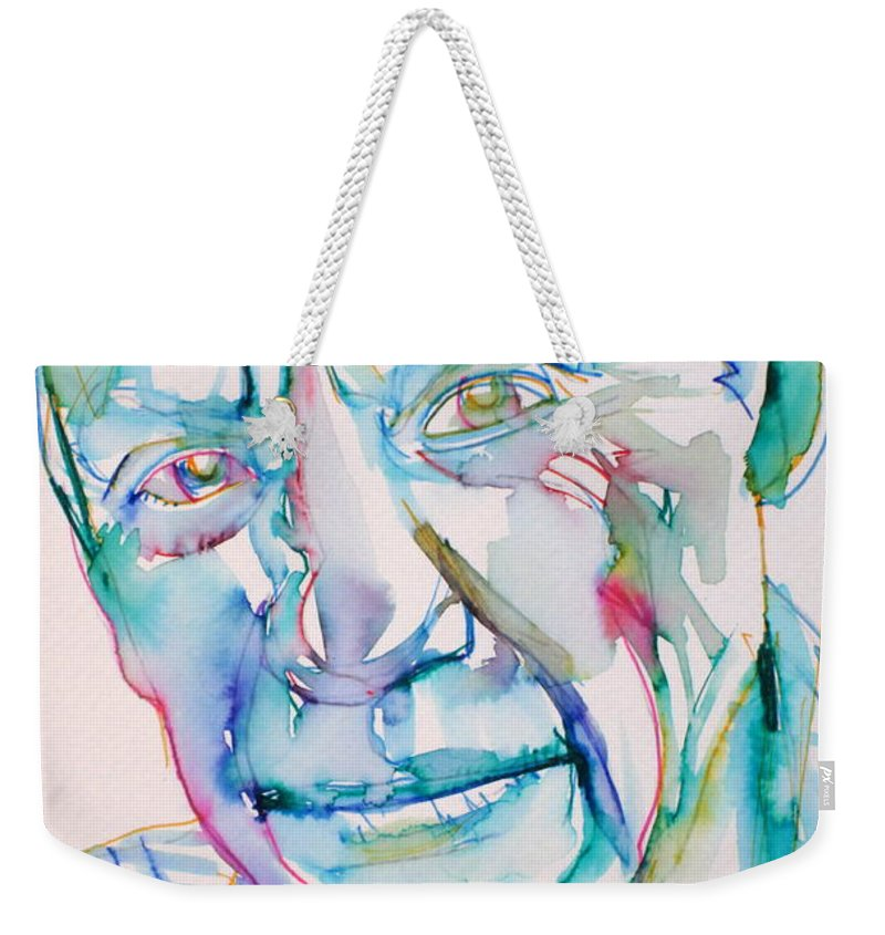 Pablo Weekender Tote Bag featuring the drawing Pablo Picasso- Portrait by Fabrizio Cassetta