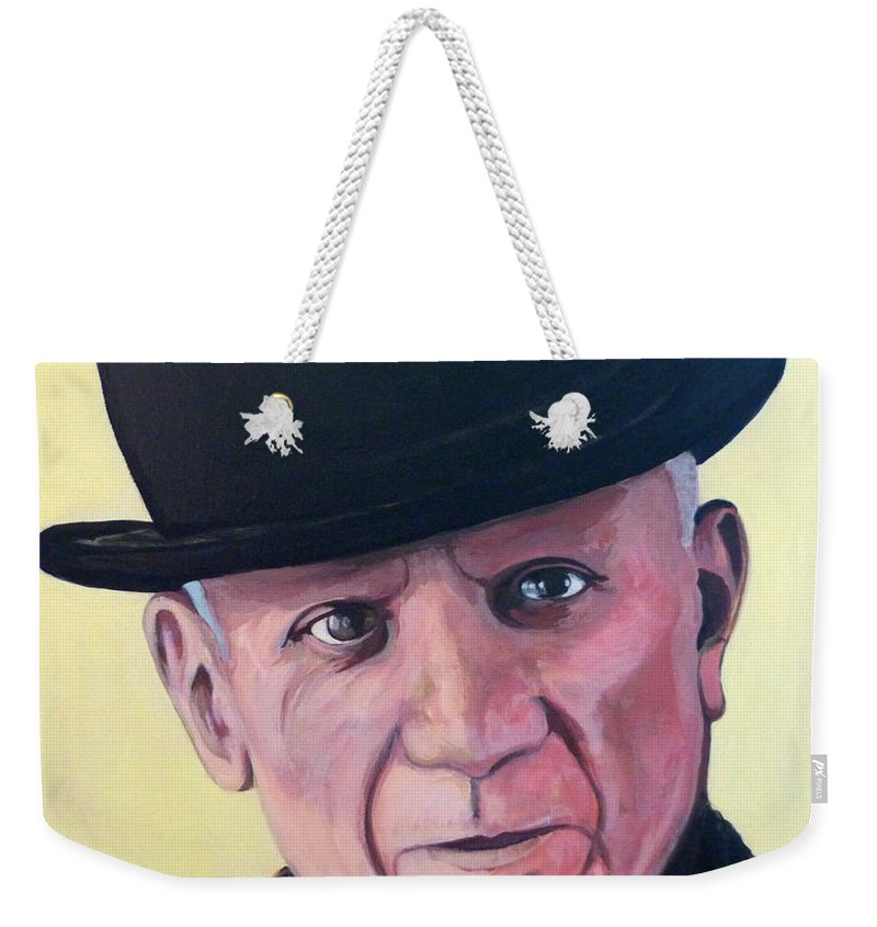 Pablo Picasso Weekender Tote Bag featuring the painting Pablo Picasso by Tom Roderick