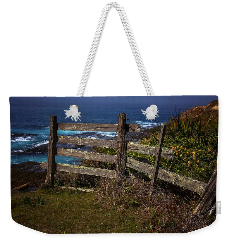 Pacific Coast Fence Weekender Tote Bag featuring the photograph Pacific Coast Fence by Garry Gay