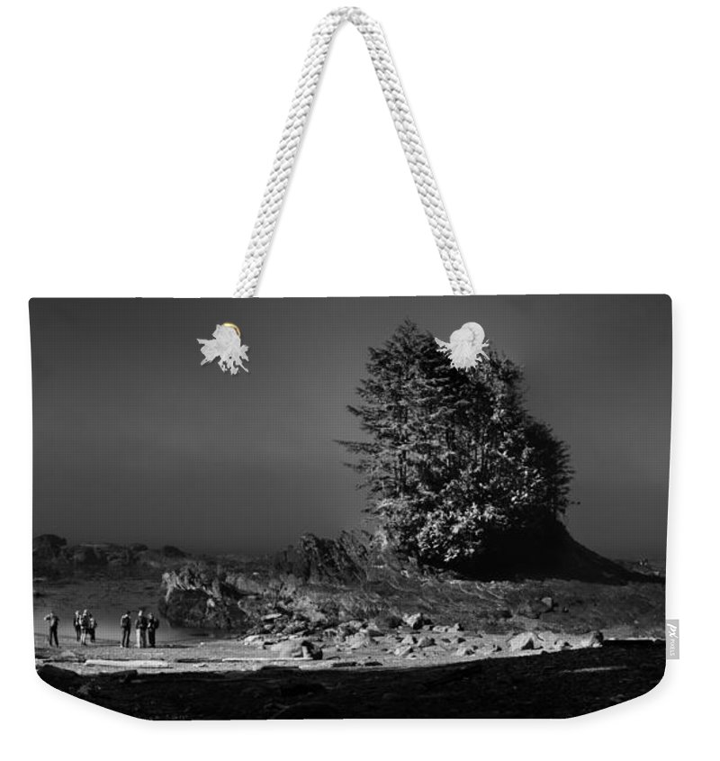 Black And White Landscape Weekender Tote Bag featuring the photograph Pacific Shore Juan De Fuca Park by Peter v Quenter