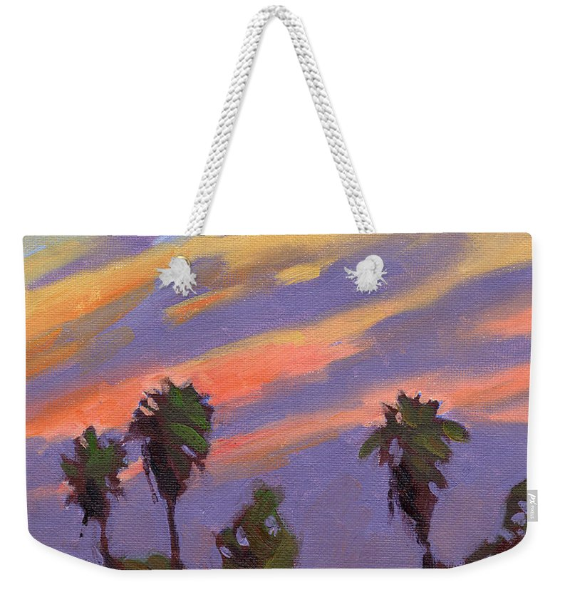 Sunset Weekender Tote Bag featuring the painting Pacific Sunset 1 by Konnie Kim