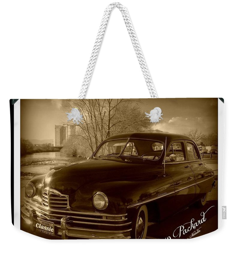 Packard Weekender Tote Bag featuring the photograph Packard Classic At Truckee River by Bobbee Rickard
