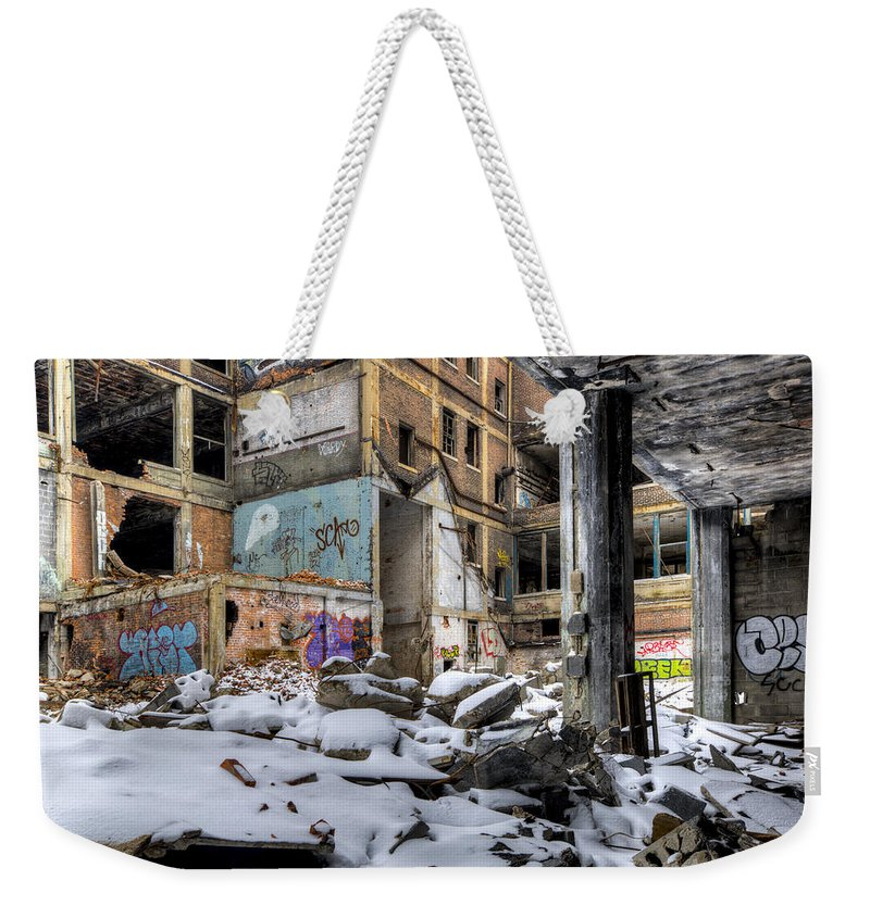 Packard Plant Detroit Michigan Weekender Tote Bag featuring the photograph Packard Plant Detroit Michigan - 11 by Paul Cannon
