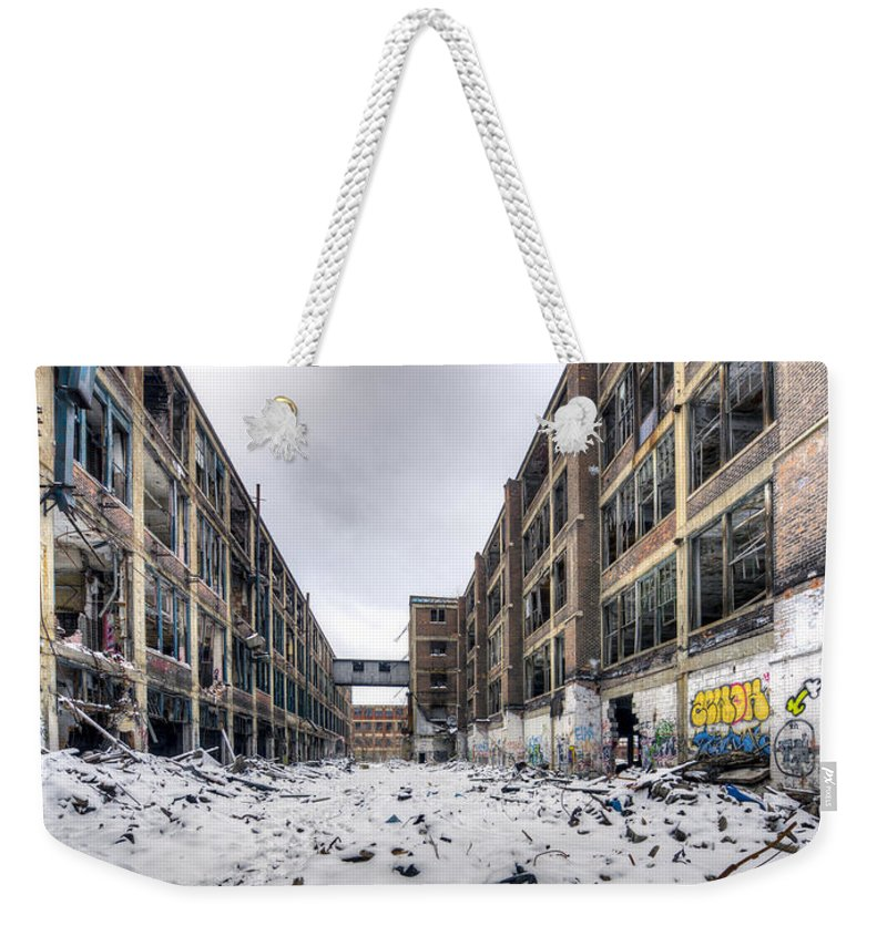 Packard Plant Detroit Michigan Weekender Tote Bag featuring the photograph Packard Plant Detroit Michigan - 13 by Paul Cannon