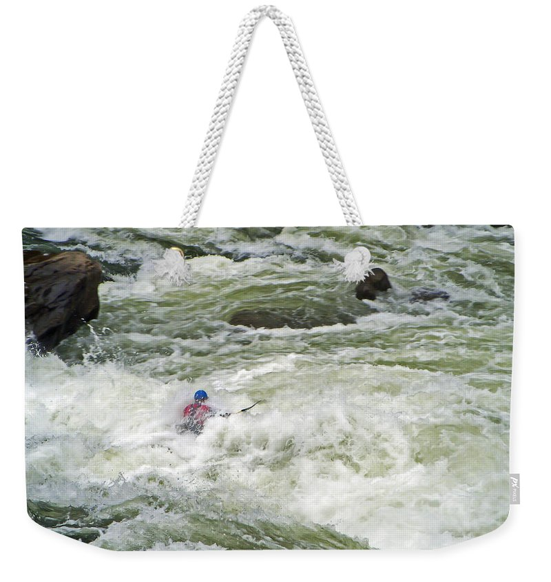 White Water Weekender Tote Bag featuring the photograph Paddling by Aimee L Maher ALM GALLERY