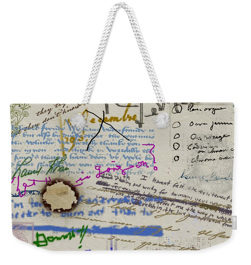 Diary Weekender Tote Bag featuring the painting Page From The Madwoman's Notebook by RC DeWinter