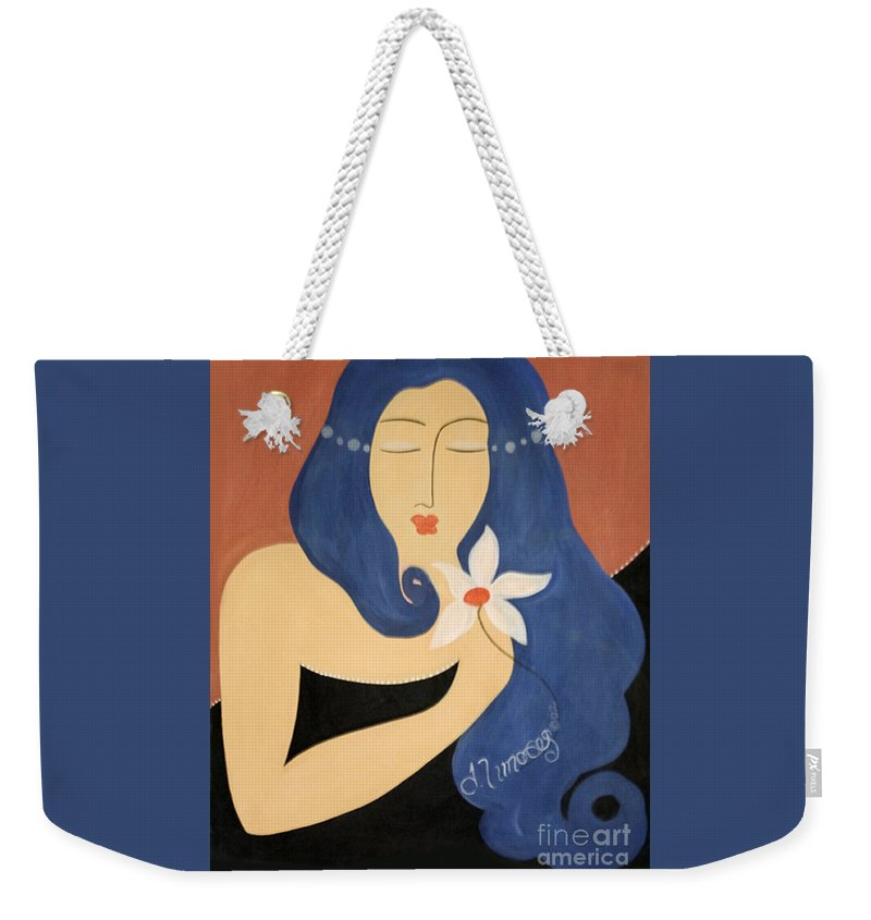 #female Weekender Tote Bag featuring the painting Page by Jacquelinemari