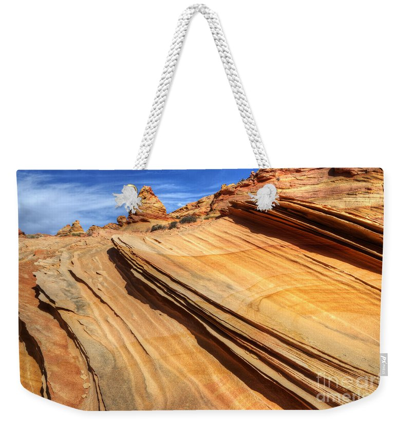 Rock Weekender Tote Bag featuring the photograph Pages From Natures Story by Bob Christopher