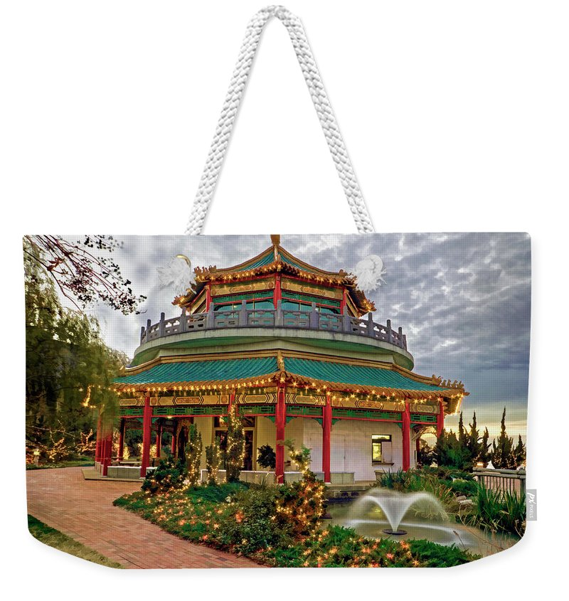 Pagoda Weekender Tote Bag featuring the photograph Pagoda In Norfolk Virginia by Jerry Gammon