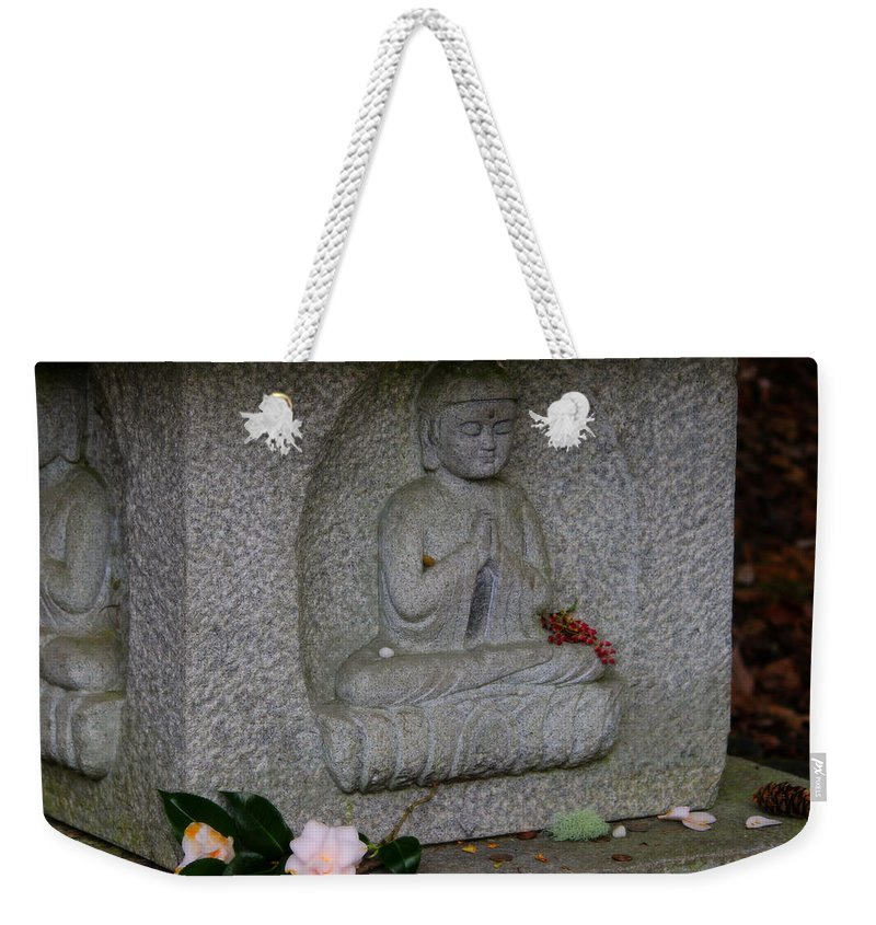 Pagoda Weekender Tote Bag featuring the photograph Pagoda Statue by Jeanette C Landstrom