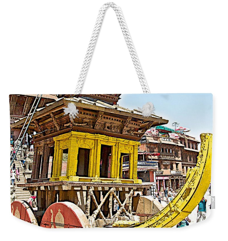 Pagoda-style Carriage In Bhaktapur Durbar Square In Bhaktapur In Nepal Weekender Tote Bag featuring the photograph Pagoda-style Carriage In Bhaktapur Durbar Square In Bhaktapur-nepal by Ruth Hager