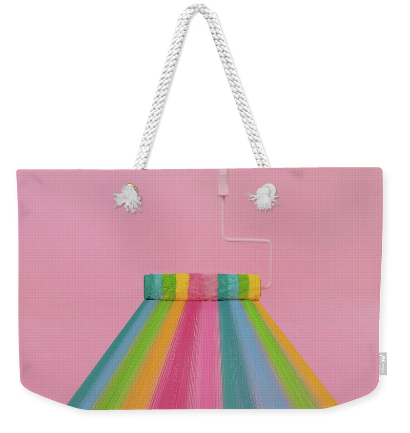 Art Weekender Tote Bag featuring the photograph Paint Roller With Rainbow Stripes by Juj Winn