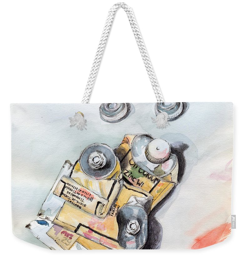 Paint Tubes Weekender Tote Bag featuring the painting Paint Tubes by Katherine Miller