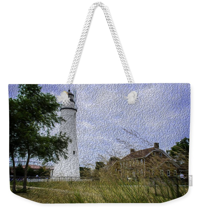 Usa Weekender Tote Bag featuring the photograph Painted Fort Gratiot Light House by LeeAnn McLaneGoetz McLaneGoetzStudioLLCcom