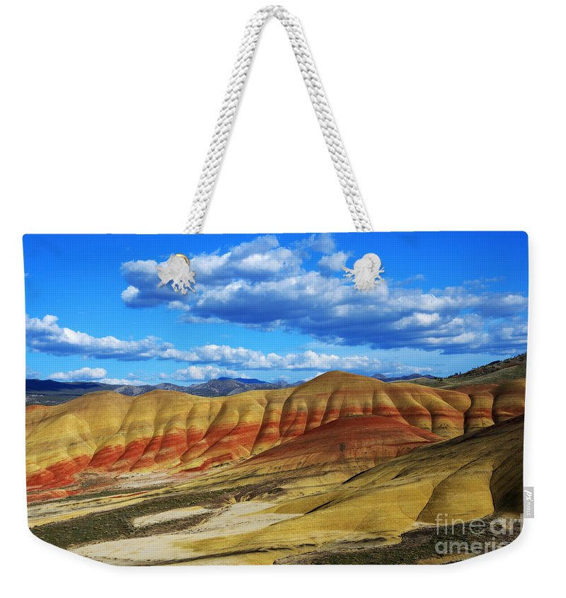 John Day Weekender Tote Bag featuring the photograph Painted Hills Blue Sky 3 by Bob Christopher