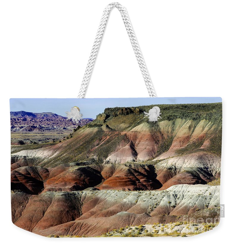 Painted Desert Petrified Forrest National Park Arizona Parks Rock Mound Colored Clay Clays Sandstone Mounds Desert Deserts Hill Hills Mountain Mountains Desertscape Desertscapes Landscape Landscapes Landmarks Landmark Weekender Tote Bag featuring the photograph Painted Hills by Bob Phillips