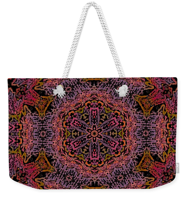 Kaleidoscope Weekender Tote Bag featuring the photograph Painted Lobster Kaleido by Kathy Clark