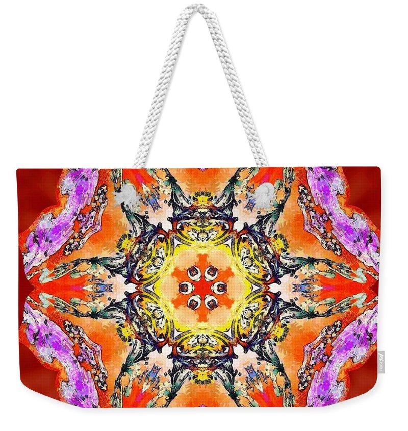 Sacredlife Mandalas Weekender Tote Bag featuring the painting Painted Lotus Xvii by Derek Gedney