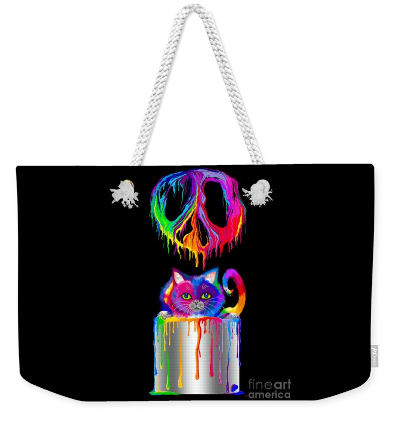 Peace Weekender Tote Bag featuring the digital art Painted Peace by Nick Gustafson