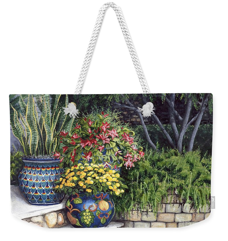 Floral Weekender Tote Bag featuring the painting Painted Pots by Mary Palmer