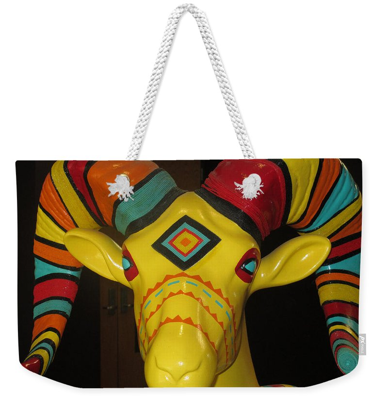 Barbara Snyder Weekender Tote Bag featuring the digital art Painted Ram by Barbara Snyder