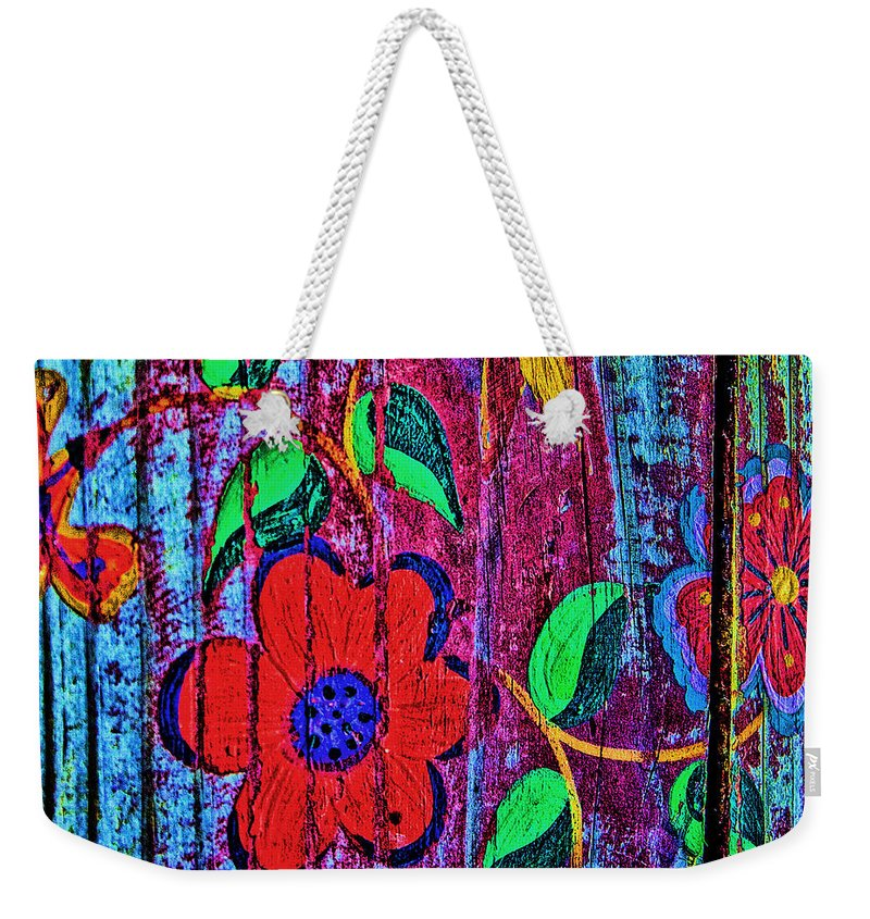 Taos Weekender Tote Bag featuring the photograph Painted Table by Diana Powell