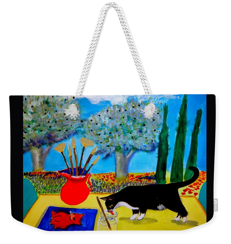 Provence Weekender Tote Bag featuring the painting Painting is thirsty work by Rusty Gladdish