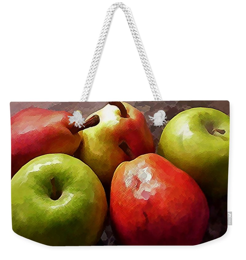Apple Pear Fruit Produce Grocery Still+life Traditional Kitchen Dining+room Weekender Tote Bag featuring the painting Painting Of Apples And Pears by Elaine Plesser