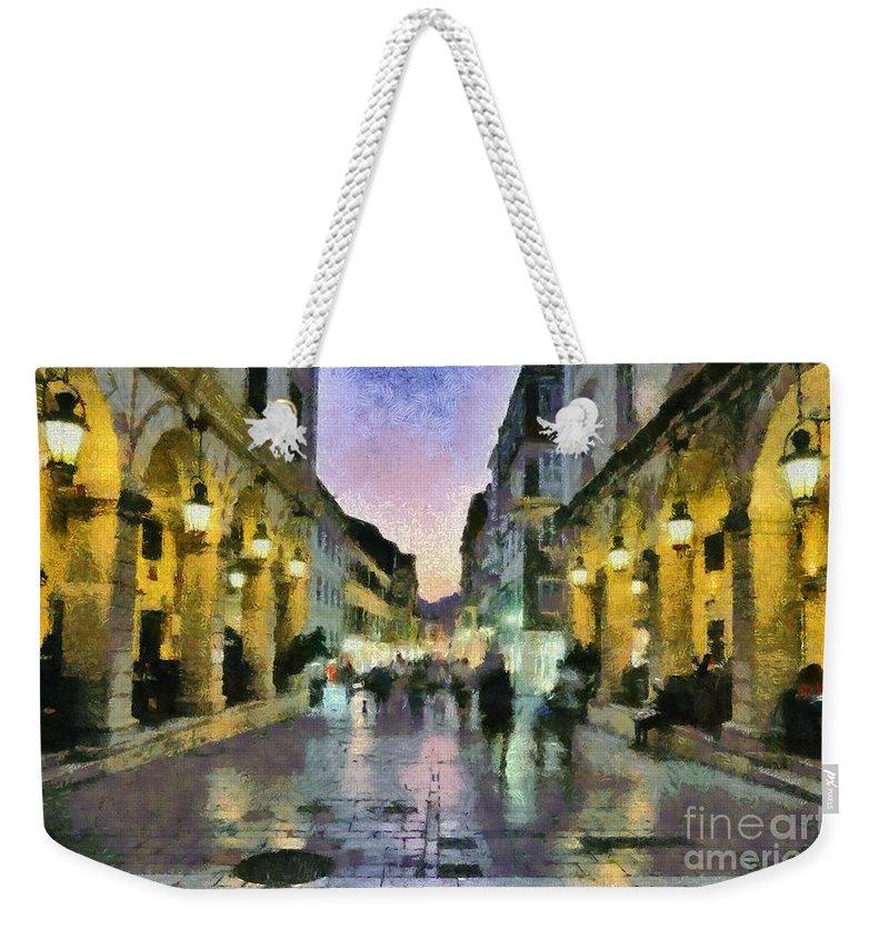 Corfu; Kerkyra; Old; City; People; Tourists; Walk; Walking; Dusk; Sunset Weekender Tote Bag featuring the painting Old City Of Corfu During Dusk Time by George Atsametakis