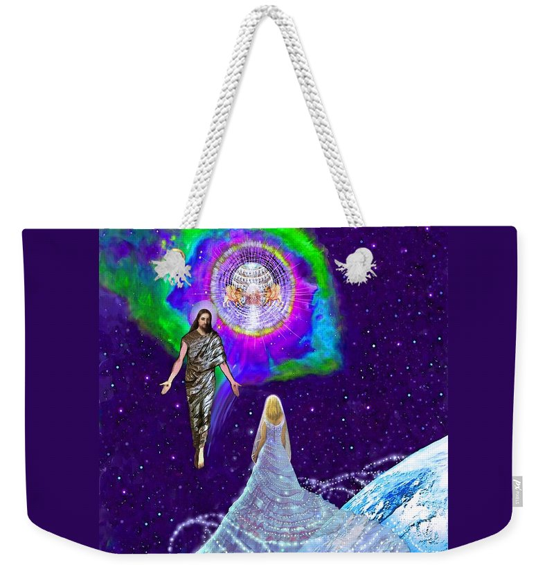 Rapture Of The Church Weekender Tote Bag featuring the painting Painting Of The Rapture Of The Church by Susanna Katherine
