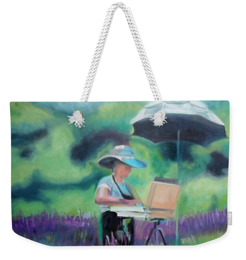 Beliveau Weekender Tote Bag featuring the painting Painting The Lavender Fields by Donna Tuten