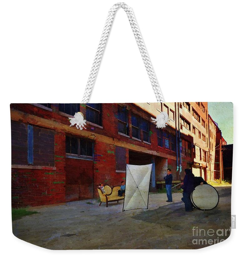 Liane Wright Weekender Tote Bag featuring the painting Painting The Photographer by Liane Wright