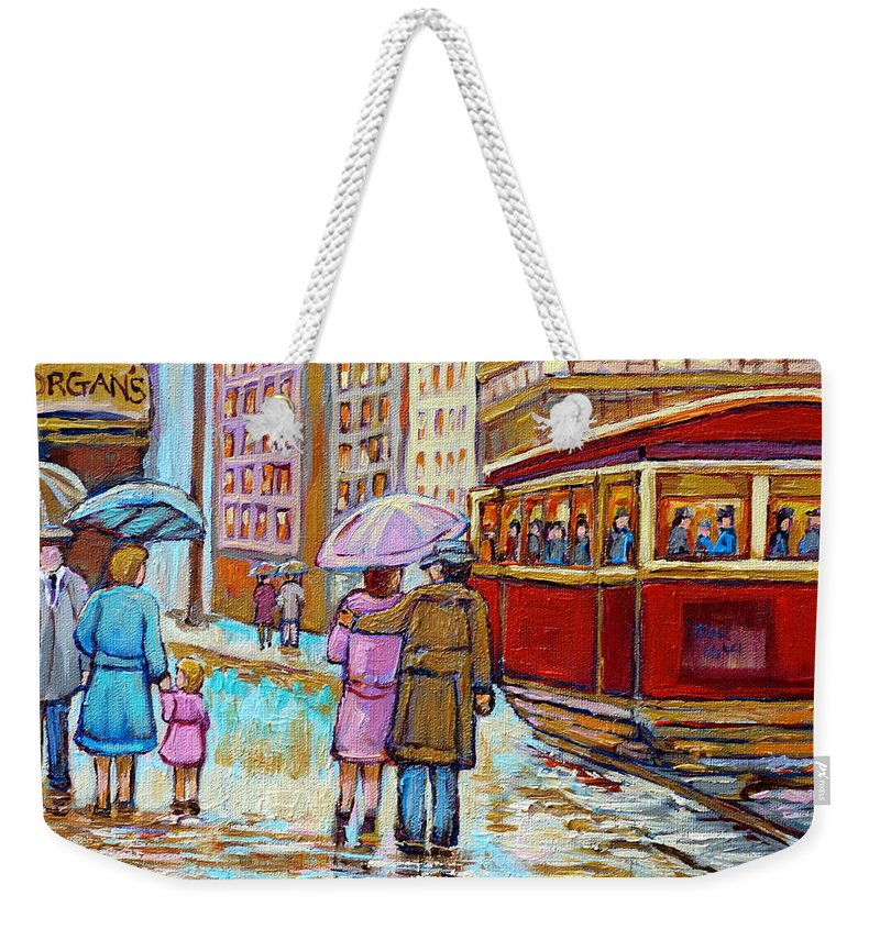 Montreal Weekender Tote Bag featuring the painting Paintings Of Fifties Montreal-downtown Streetcar-vintage Montreal Scene by Carole Spandau