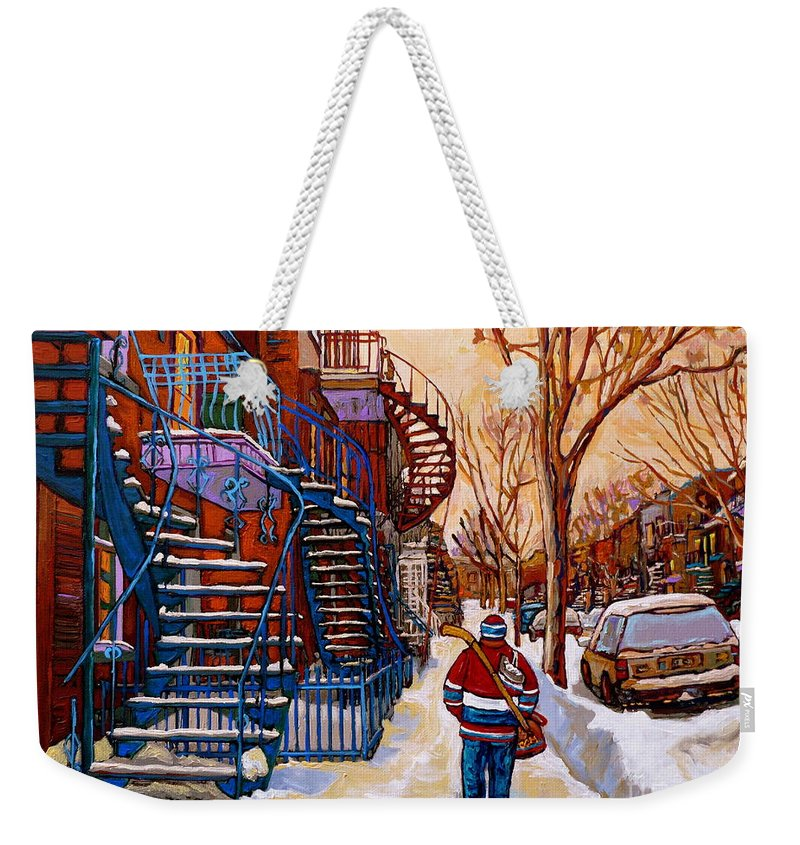 Montreal Weekender Tote Bag featuring the painting Paintings Of Montreal Beautiful Staircases In Winter Walking Home After The Game By Carole Spandau by Carole Spandau