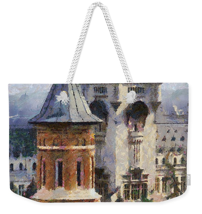 Chapel Weekender Tote Bag featuring the painting Palace Of Culture by Jeffrey Kolker