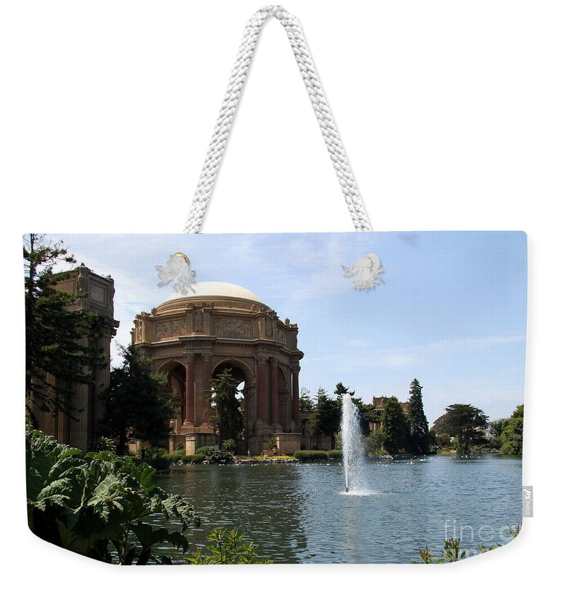 Palace Of Fine Arts Weekender Tote Bag featuring the photograph Palace Of Fine Arts And Lagoon by Christiane Schulze Art And Photography