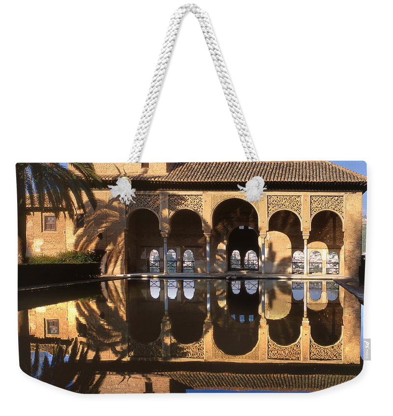 The Alhambra Weekender Tote Bag featuring the photograph Palacio Del Partal La Alhambra by Guido Montanes Castillo