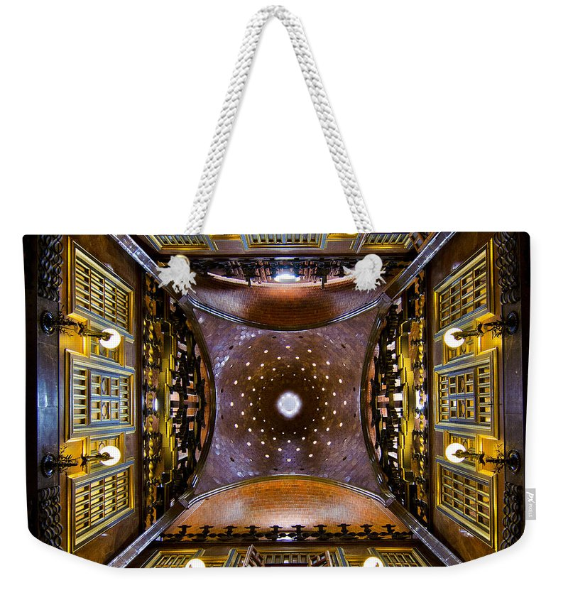 Spain Weekender Tote Bag featuring the photograph Palau Guell Ceiling by Jack Daulton
