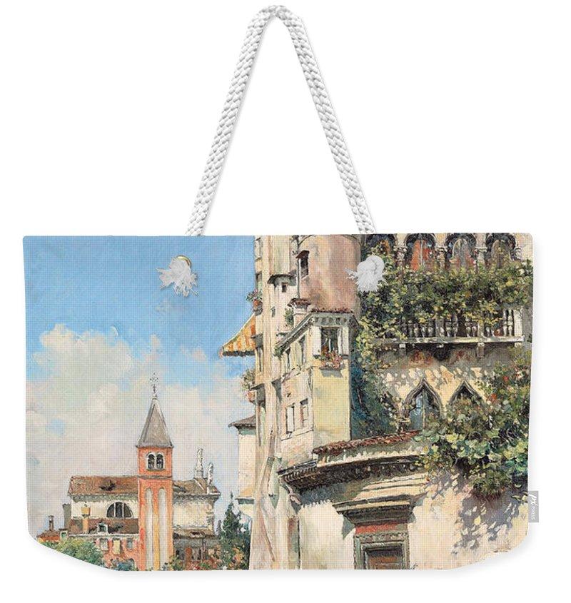 Palazzo Contarini Weekender Tote Bag featuring the painting Palazzo Contarini by Jose Gallegos Arnosa