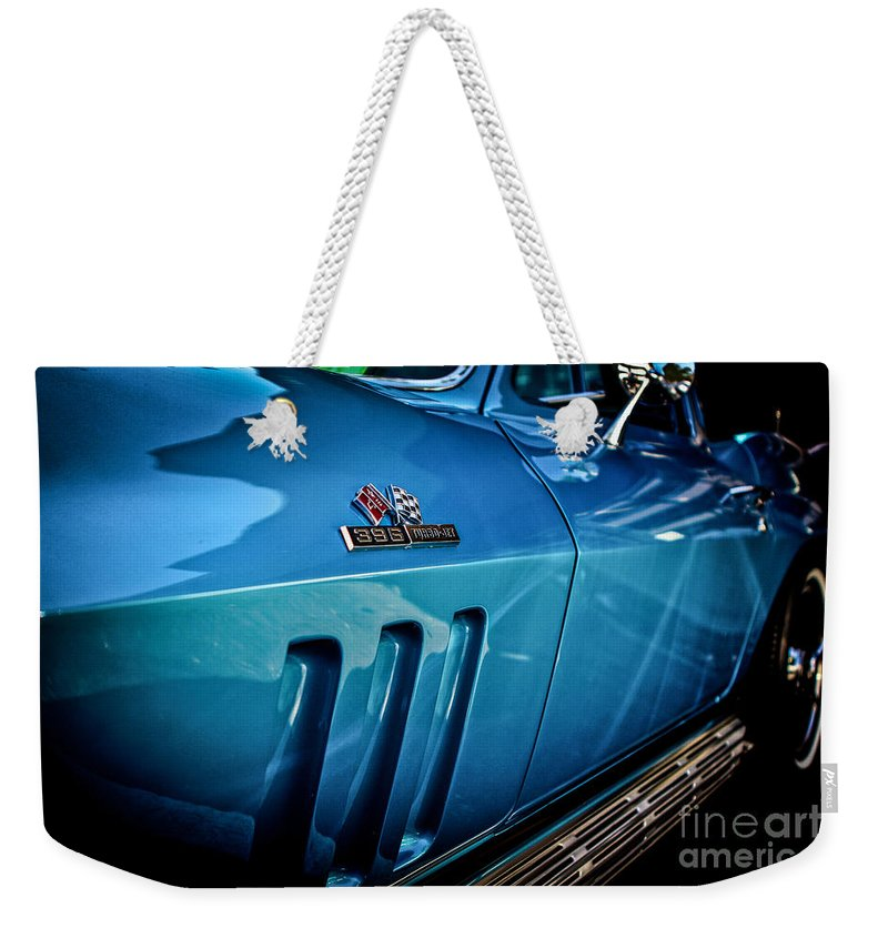 Classic Cars Weekender Tote Bag featuring the photograph Pale Blue Rider -2 by Digital Kulprits