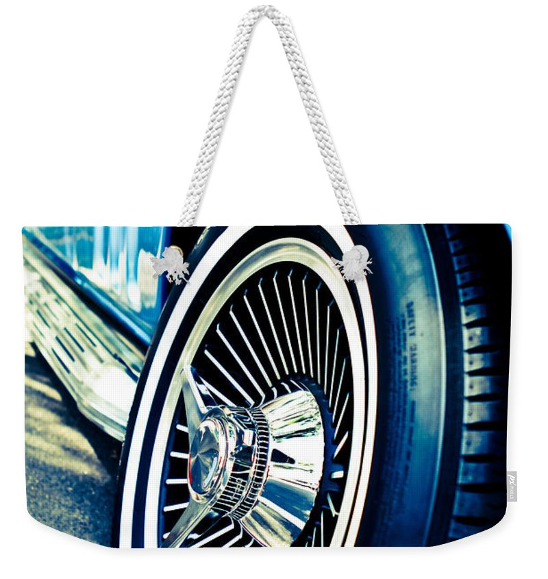 Classic Cars Weekender Tote Bag featuring the photograph Pale Blue Rider by Digital Kulprits