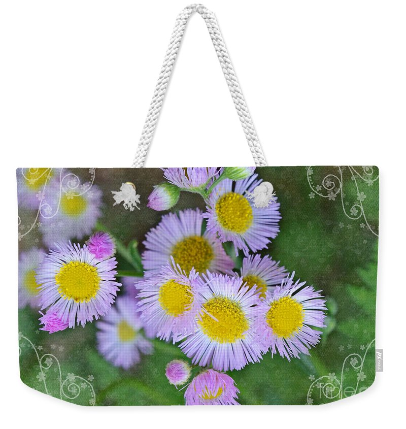 Nature Weekender Tote Bag featuring the photograph Pale Pink Fleabane Blooms With Decorations by Debbie Portwood