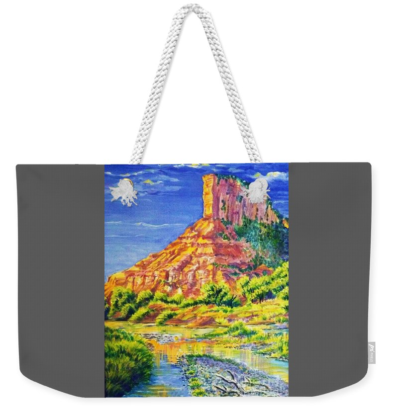 Acrylic Painting 18 By 28 In Barnwood Frame Of Iconic Sandstone Palisade Above The Dolores River In The Fall. Weekender Tote Bag featuring the painting Palisiade at Gateway Colorado by Annie Gibbons