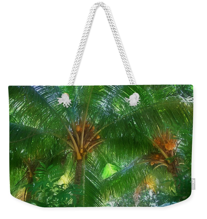 Art Weekender Tote Bag featuring the painting Palm Tree by Jeelan Clark