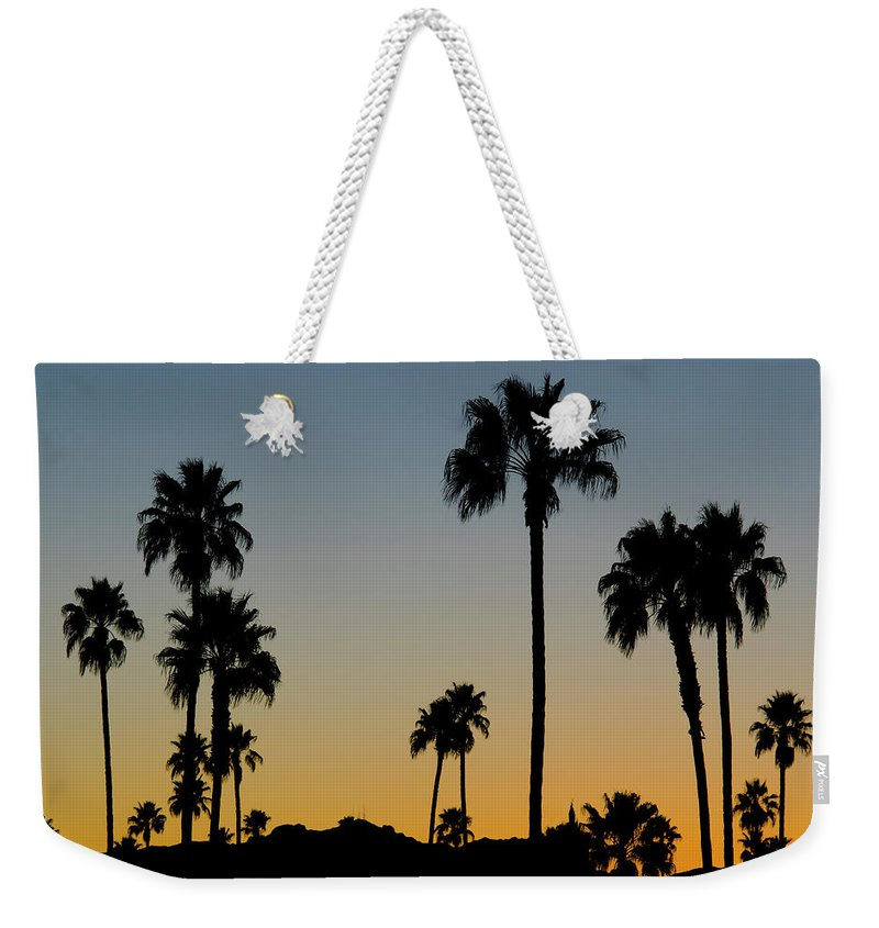 Scenics Weekender Tote Bag featuring the photograph Palm Trees At Sunset by Chapin31