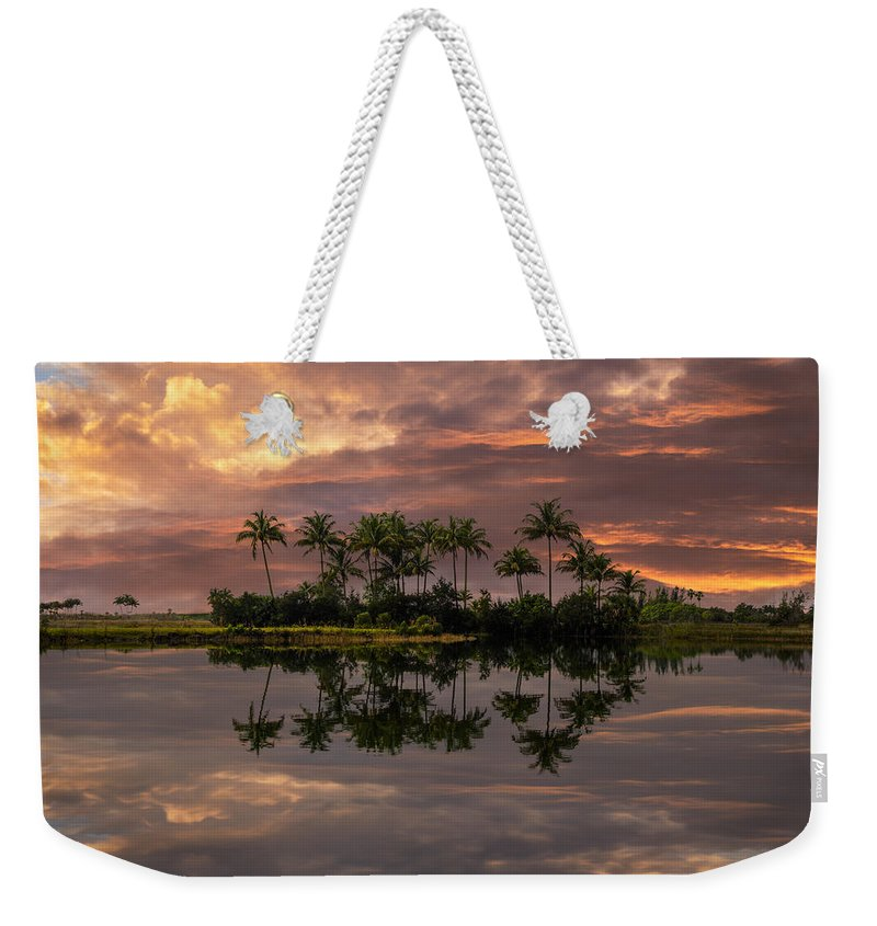 Boats Weekender Tote Bag featuring the photograph Palm Trees At Sunset by Debra and Dave Vanderlaan